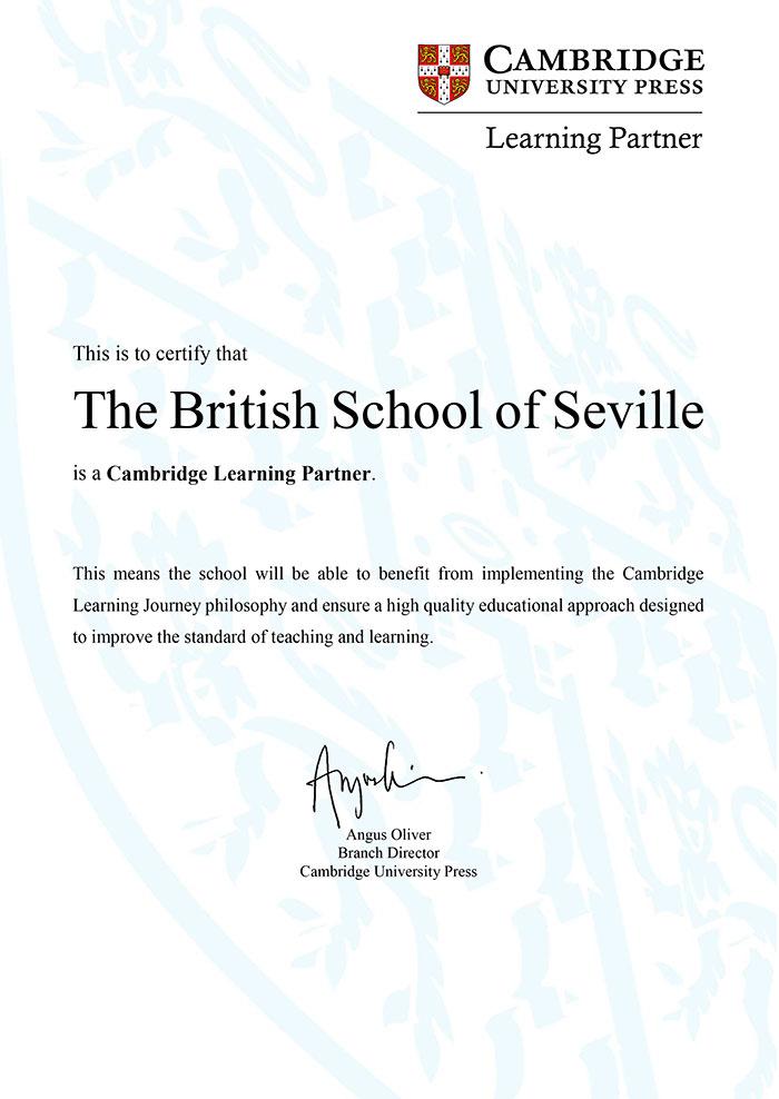 Certificado-Learning-Partner-Cambridge-The-British-School-of-Seville